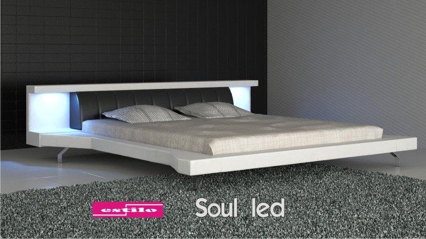 łóżko Tapicerowane Soul Led Skóra Naturalna 140x200